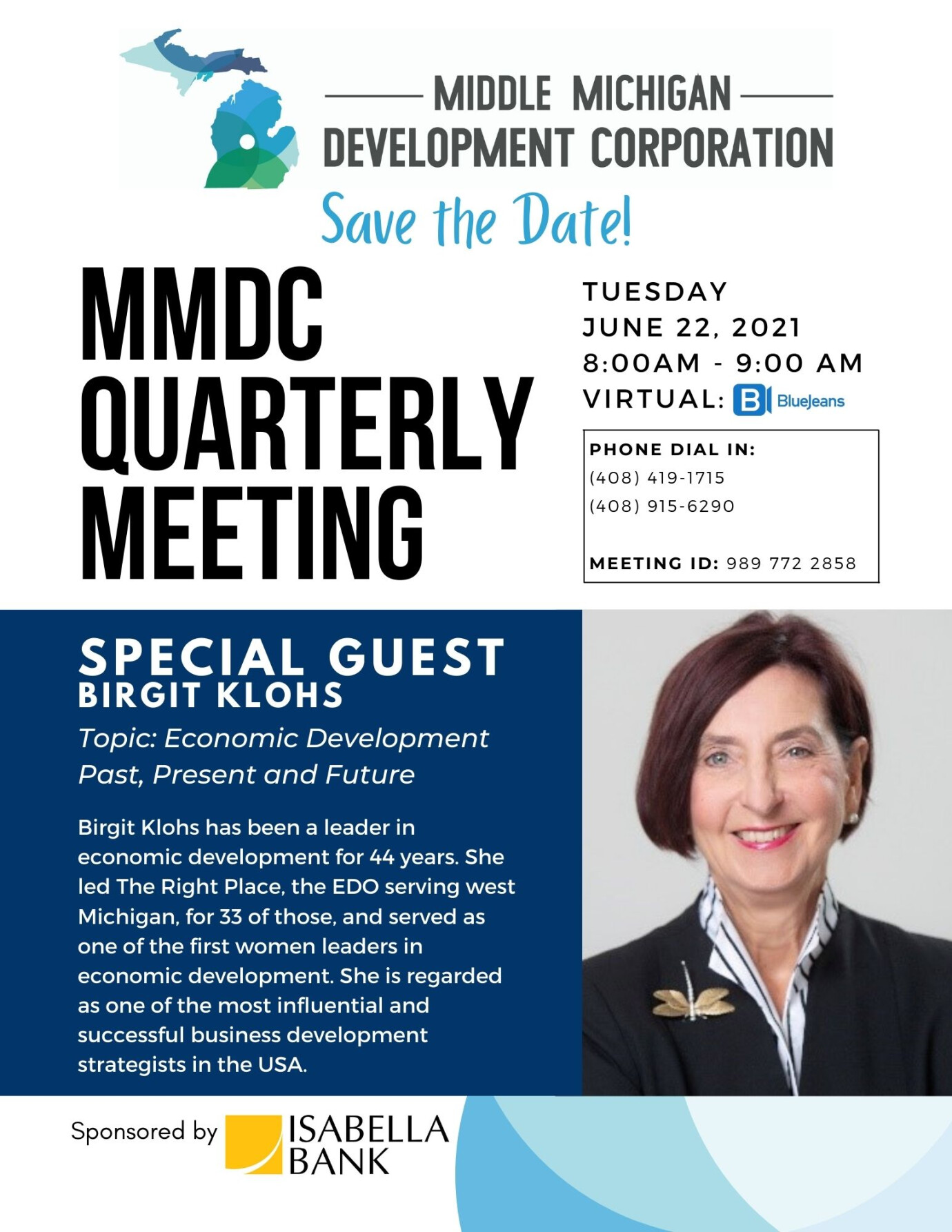 June Quarterly Meeting Featuring Birgit Klohs, Past President and CEO of The Right Place